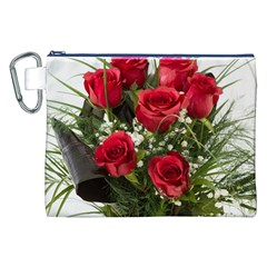 Red Roses Roses Red Flower Love Canvas Cosmetic Bag (xxl)