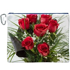 Red Roses Roses Red Flower Love Canvas Cosmetic Bag (xxxl)