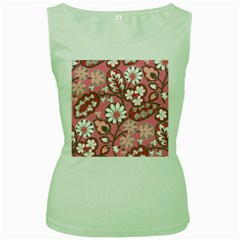 Flower Floral Red Blush Pink Women s Green Tank Top