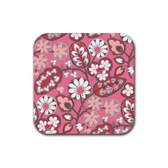 Flower Floral Red Blush Pink Rubber Coaster (square)