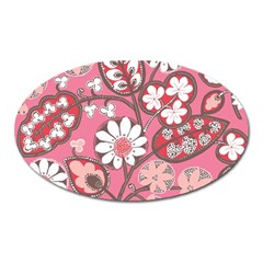 Flower Floral Red Blush Pink Oval Magnet