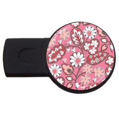 Flower Floral Red Blush Pink Usb Flash Drive Round (2 Gb)
