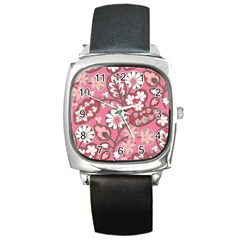 Flower Floral Red Blush Pink Square Metal Watch