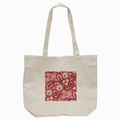 Flower Floral Red Blush Pink Tote Bag (cream)