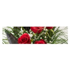 Red Roses Roses Red Flower Love Satin Scarf (Oblong)