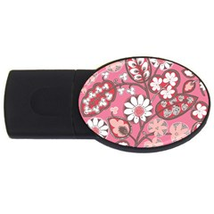 Flower Floral Red Blush Pink Usb Flash Drive Oval (4 Gb)