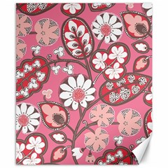 Flower Floral Red Blush Pink Canvas 8  x 10