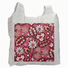Flower Floral Red Blush Pink Recycle Bag (One Side)