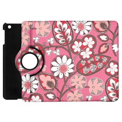 Flower Floral Red Blush Pink Apple Ipad Mini Flip 360 Case