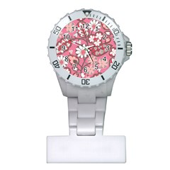 Flower Floral Red Blush Pink Plastic Nurses Watch