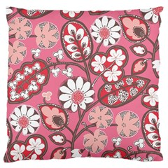 Flower Floral Red Blush Pink Standard Flano Cushion Case (One Side)