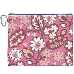 Flower Floral Red Blush Pink Canvas Cosmetic Bag (XXXL)