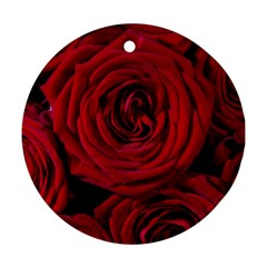 Roses Flowers Red Forest Bloom Ornament (round)