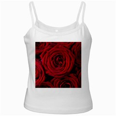 Roses Flowers Red Forest Bloom White Spaghetti Tank
