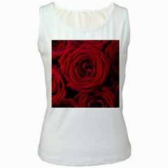 Roses Flowers Red Forest Bloom Women s White Tank Top