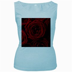 Roses Flowers Red Forest Bloom Women s Baby Blue Tank Top