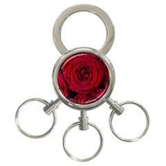 Roses Flowers Red Forest Bloom 3-Ring Key Chains