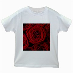 Roses Flowers Red Forest Bloom Kids White T Shirts