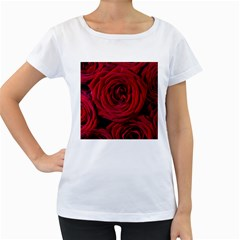 Roses Flowers Red Forest Bloom Women s Loose Fit T Shirt (white)