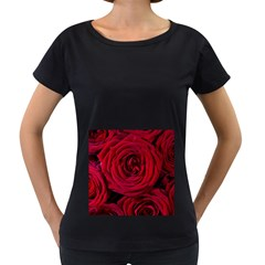 Roses Flowers Red Forest Bloom Women s Loose Fit T Shirt (black)