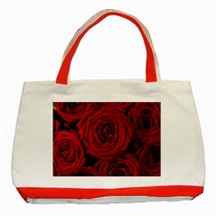 Roses Flowers Red Forest Bloom Classic Tote Bag (Red)