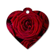 Roses Flowers Red Forest Bloom Dog Tag Heart (two Sides)