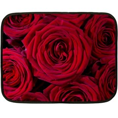 Roses Flowers Red Forest Bloom Double Sided Fleece Blanket (mini)
