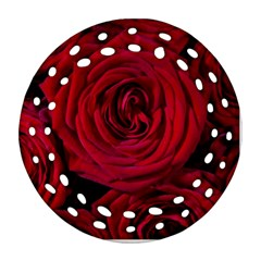 Roses Flowers Red Forest Bloom Round Filigree Ornament (two Sides)
