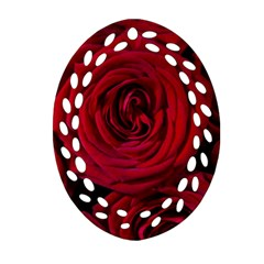 Roses Flowers Red Forest Bloom Oval Filigree Ornament (two Sides)