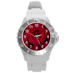 Roses Flowers Red Forest Bloom Round Plastic Sport Watch (l)