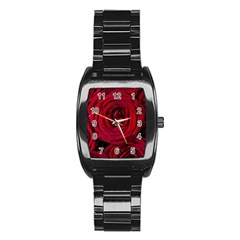 Roses Flowers Red Forest Bloom Stainless Steel Barrel Watch