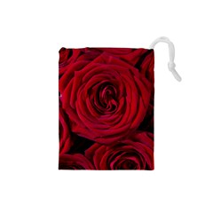 Roses Flowers Red Forest Bloom Drawstring Pouches (small)