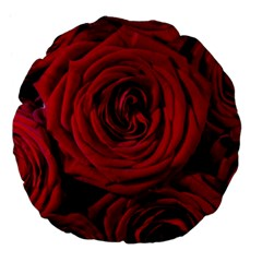 Roses Flowers Red Forest Bloom Large 18  Premium Flano Round Cushions