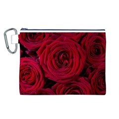 Roses Flowers Red Forest Bloom Canvas Cosmetic Bag (l)