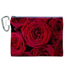 Roses Flowers Red Forest Bloom Canvas Cosmetic Bag (xl)