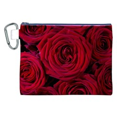 Roses Flowers Red Forest Bloom Canvas Cosmetic Bag (xxl)