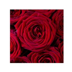 Roses Flowers Red Forest Bloom Small Satin Scarf (square)