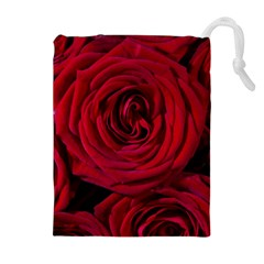 Roses Flowers Red Forest Bloom Drawstring Pouches (Extra Large)
