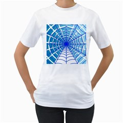 Cobweb Network Points Lines Women s T Shirt (white) (two Sided)