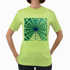 Cobweb Network Points Lines Women s Green T Shirt