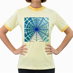 Cobweb Network Points Lines Women s Fitted Ringer T-Shirts
