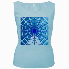 Cobweb Network Points Lines Women s Baby Blue Tank Top