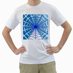 Cobweb Network Points Lines Men s T Shirt (white) (two Sided)