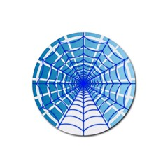 Cobweb Network Points Lines Rubber Round Coaster (4 Pack)