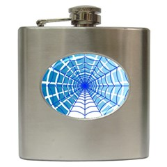 Cobweb Network Points Lines Hip Flask (6 Oz)