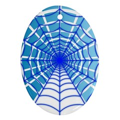 Cobweb Network Points Lines Oval Ornament (two Sides)