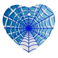 Cobweb Network Points Lines Heart Ornament (two Sides)