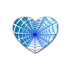 Cobweb Network Points Lines Rubber Coaster (Heart)