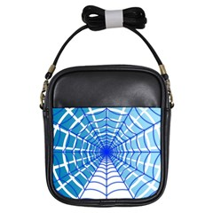 Cobweb Network Points Lines Girls Sling Bags