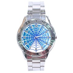 Cobweb Network Points Lines Stainless Steel Analogue Watch